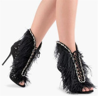 Sestito Woman Luxury Crystal Lace up Summer Gladiator Sandals Girls Thin High Heels Feather Shoes Lady Cover Heels Dress Shoes