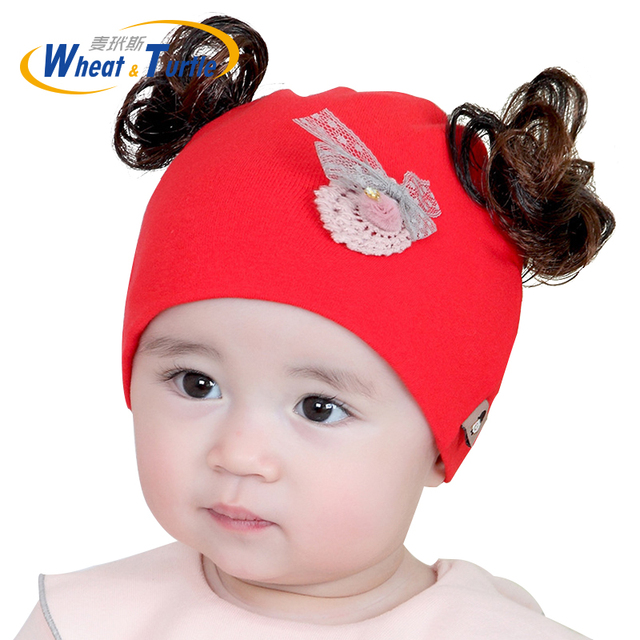 87382b2df9c Baby Hat Artificial Fake hair Baby Boy Cap Cotton Printing Pompom Bobble Hat  For Girls Winter