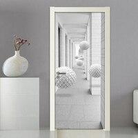 크리 에이 티브 3d 입체 공간 현대 문 장식 스티커 침실 거실 문 혁신 diy 자기 접착 문 벽화