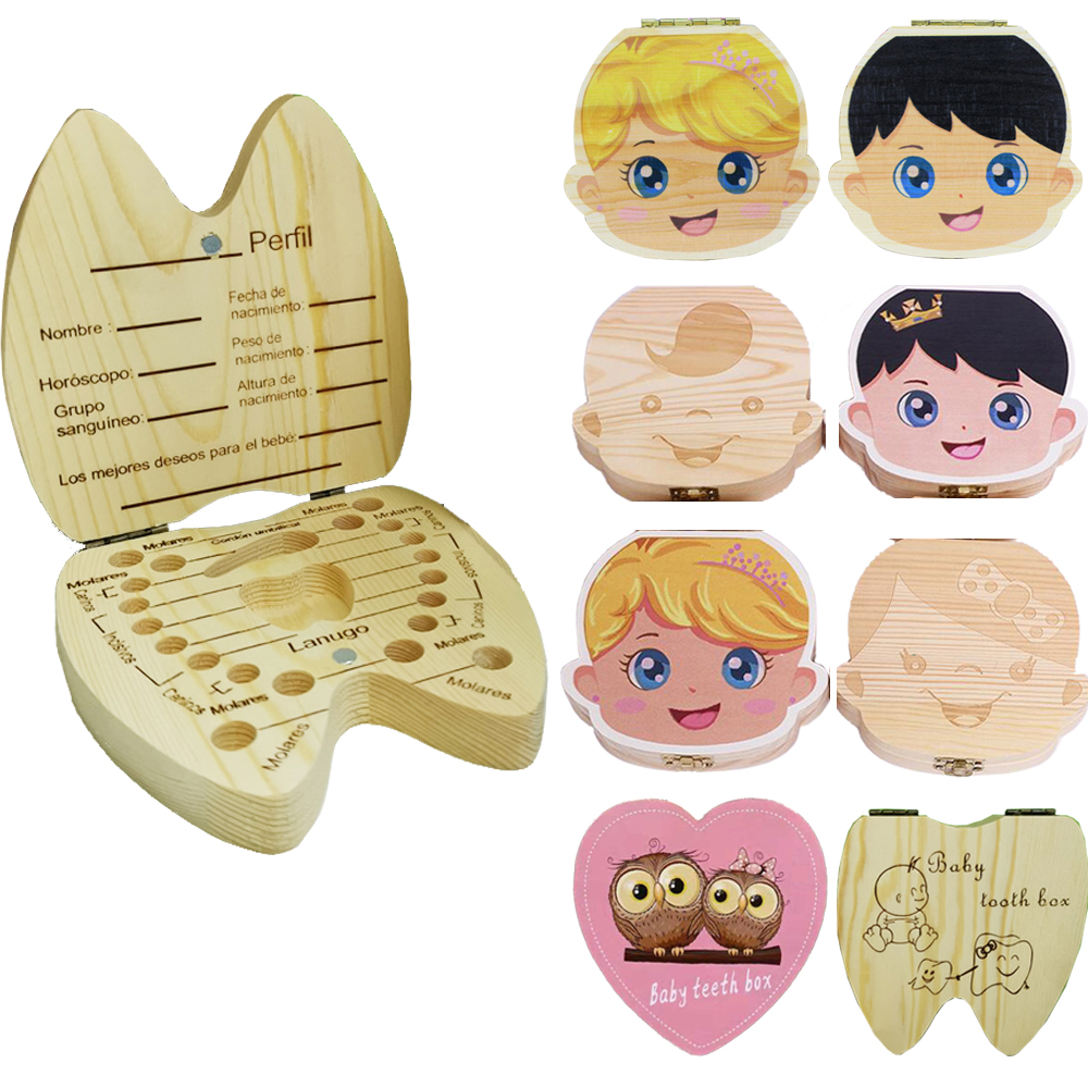 English/Spanish Wooden Baby Tooth Box Organizer Milk Teeth Storage Umbilical Lanugo Save Collect Baby Souvenirs Gifts(China)