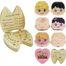 Angielski/hiszpański drewniane pudełko na zęby mleczne Organizer zęby mleczne przechowywanie pępowinowe Lanugo zapisz zbieraj dziecięce upominki