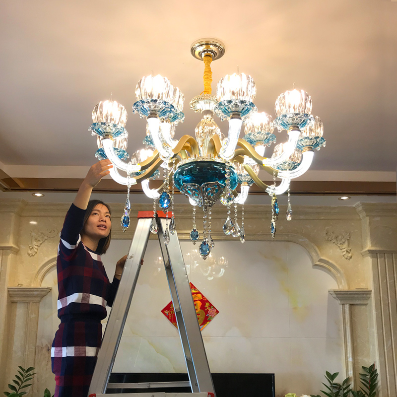 Modern Crystal Chandelier Villa Hotel Boutique Crystal chandelier Living Room Dining Room Hanging Lamp Alloy Blue led Chandelier boutique 7 hotel