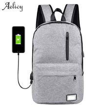 Фотография Aelicy Anti-theft Laptop Backpack External USB Charge Computer Backpacks Casual Waterproof Bags for Men Women Travel Rugzak 1012