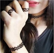 C059 popular lady elastic tattoo personality necklace and Elastic fishline personalized tattoo bracelet /ring(China)