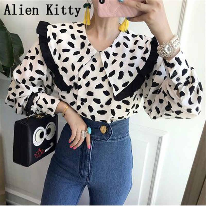 Alien Kitty แฟชั่นฤดูใบไม้ร่วงเสื้อลำลองผู้หญิง Dot Slim หลวมหญิงเสื้อ Workwear เซ็กซี่คุณภาพสูงหวานทั้งหมดตรงกับ
