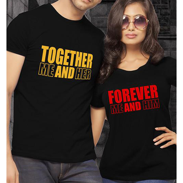 32d6732d EnjoytheSpirit Together Forever Me and Her Him Couple T Shirt Couples Shirts  Leisure Short Sleeve T