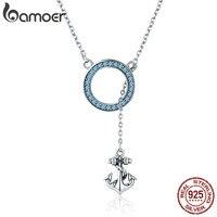BAMOER Bán Hot 100% 925 Sterling Silver Neo Tròn Màu Xanh CZ Necklaces đối với Phụ Nữ Pendant Necklace Luxury Bạc Trang Sức SCN192
