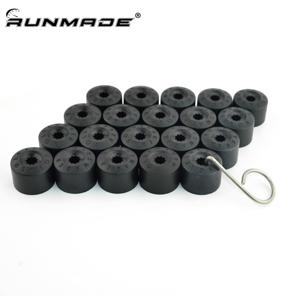 runmade 20pcs/lot For VW Jetta Golf MK5 Passat B6 Wheel Lug Bolt Center Nut Cover Caps with Removal Tool 1K0 601 173 A