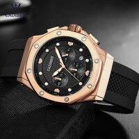 Cadesen Men's 24 hour Chronograph Watches Fashion Leather Strap Luminous Sports Analogue Quartz Wristwatch for Man 9058 Rose