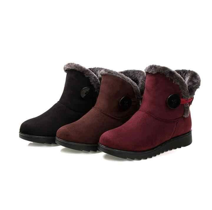 HUANQIU Kış Kadın Çizmeler Akın Sıcak Ayak Bileği Kar Botları 2017 Platformu anne ayakkabısı Kadın Daireler Üzerinde Kayma Düğmesi Sürüngen Wyq180