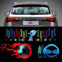 Niscarda Parabrezza Dell'automobile HA PORTATO il Suono Attivato Equalizzatore Neon EL Luce Ritmo di Musica Flash Lampada Sticker Styling Con La Scatola di Controllo