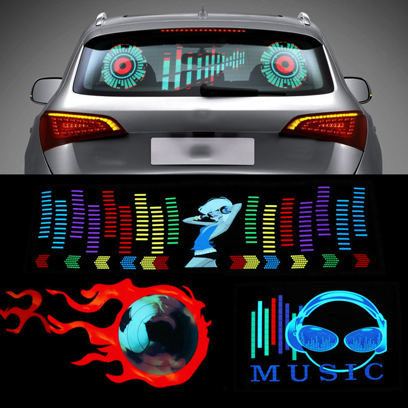 Niscarda Car Windshield LED Sound Activated Equalizer Neon EL Light Music Rhythm Flash Lamp Sticker Styling With Control Box