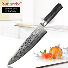 "SUNNECKO 8"" Chef Knife Stainless Steel Damascus Pattern Blade Sanding Laser Kitchen Knives Pakka Wood Handle Sharp Meat Cutting(China)"