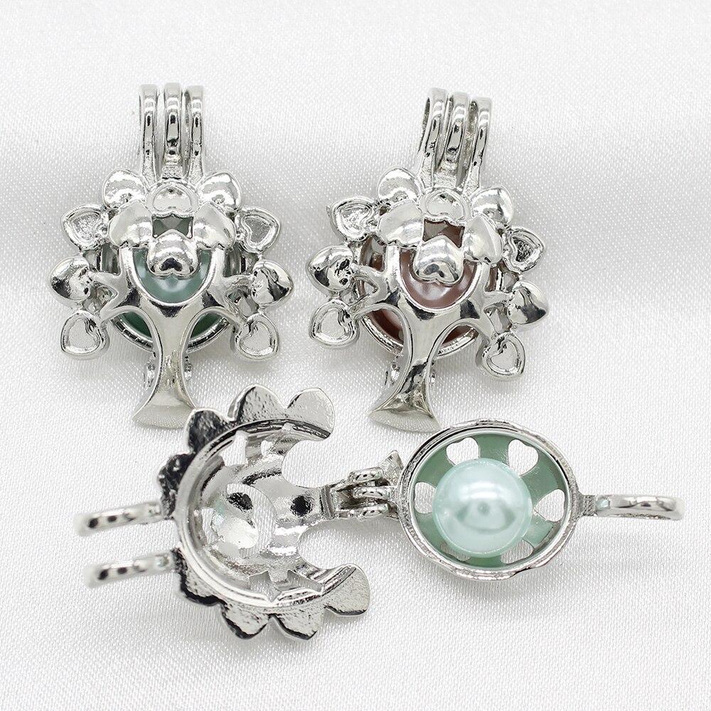 5X Silver Locket Beads Pearl Cage Pendant Duck Charm DIY Jewelry Bracelet Making