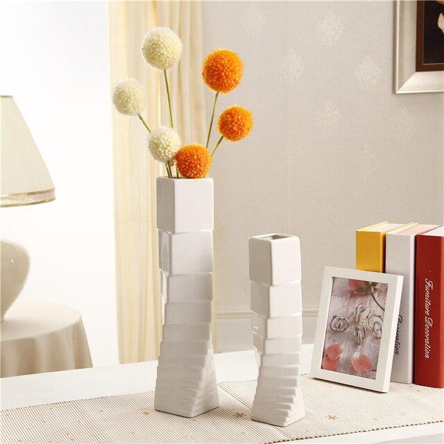 White Ceramic Vases Home Decor Flower Vases Art Decor Flower Pots Planters  Bathroom TV Cabinet/