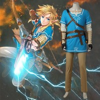 The Legend of Zelda Breath of the Wild Link Cosplay Costume Anime Uniform Halloween Carnival Cosplay Adult Men Blue Shirt Unisex