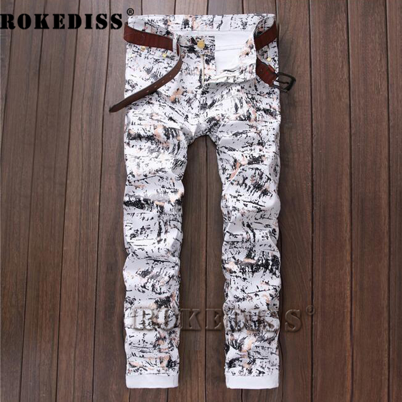 Barber special Elasticity Printing Men trousers Autumn and winter models Youth fashion Fake designer clothes Jeans uomo B137 блузон fake ethics youth 8 16 лет