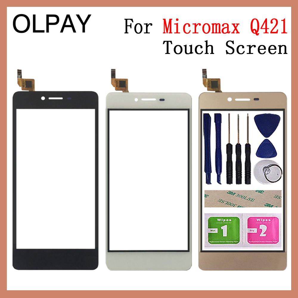 "OLPYA 5.0"" Mobile Phone For Micromax Q421 Touch Screen Glass Digitizer Panel Lens Sensor Glass Free Adhesive And Wipes"