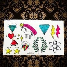 Lovely School Children Style Flash Tattoo Diamond Unicorn Watermelon Design Waterproof Temporary Tattoo Sticker For Kids AAQ-X24