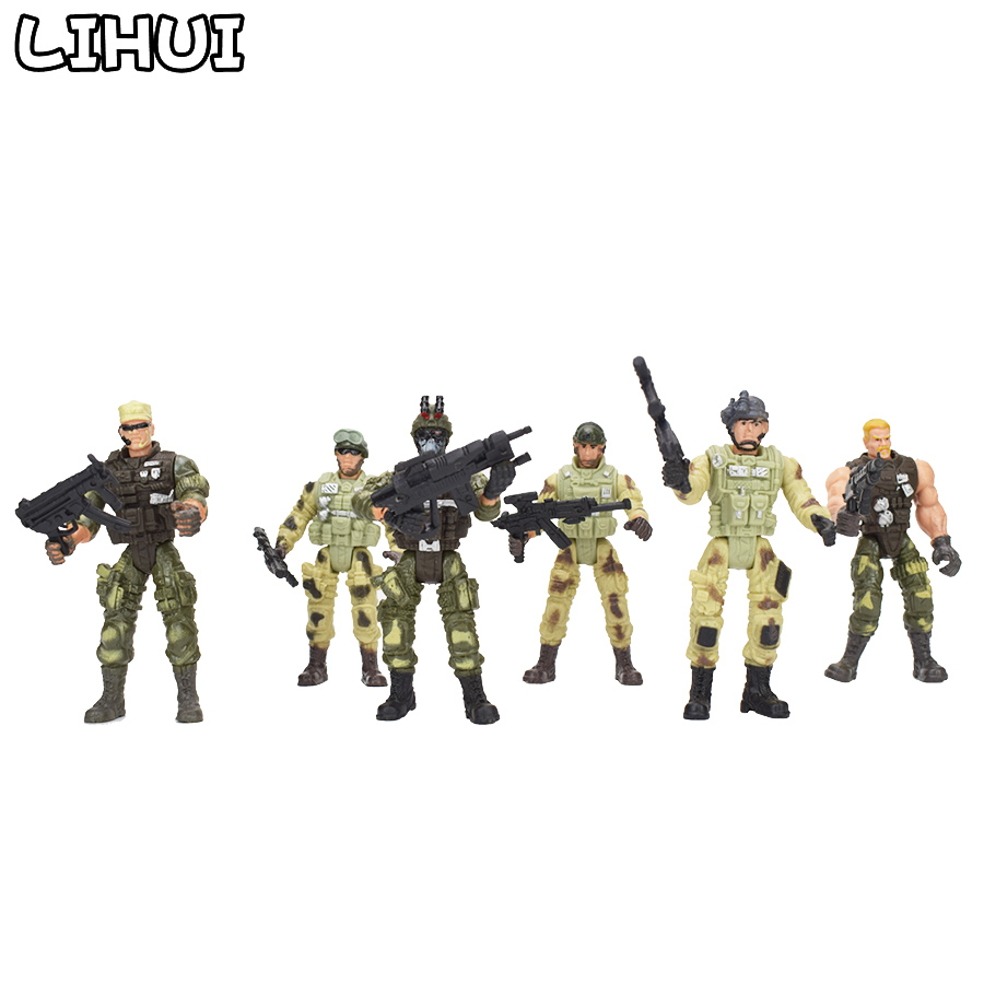 6 Pcs/set Military Soldiers Model Toy For Boys Plastic Action Figure Soldier Modeling Toys For Children Educational Toys