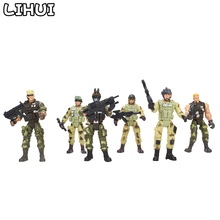 цена на 6 Pcs/set Military Soldiers Model Toy for Boys Plastic Action Figure Soldier Modeling Toys for Children Educational Toys