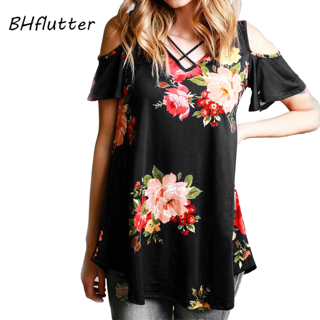 cc7de3ac3 BHflutter 4XL Plus Size Women Clothing 2018 T shirt Women Short Sleeve  Ploral Print Summer Tops Tees Off Shoulder Casual Tshirts