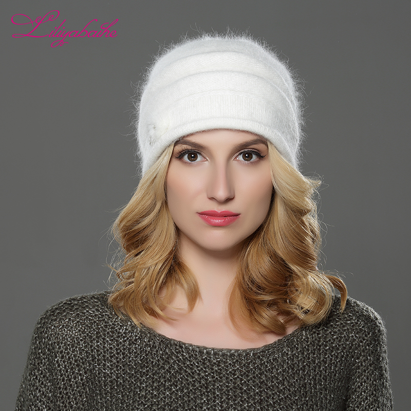 a80805b82cd Aliexpress.com   Buy LILIYABAIHE NEW Style Women winter Beanies hat knitted  wool angora hats Mink balls and pearl decoration cap Double warm hat from  ...