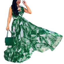 Womens Chiffon Sleeveless Stylish  With Belt V-Neck Printed Floral Maxi Dress Vestidos de festa