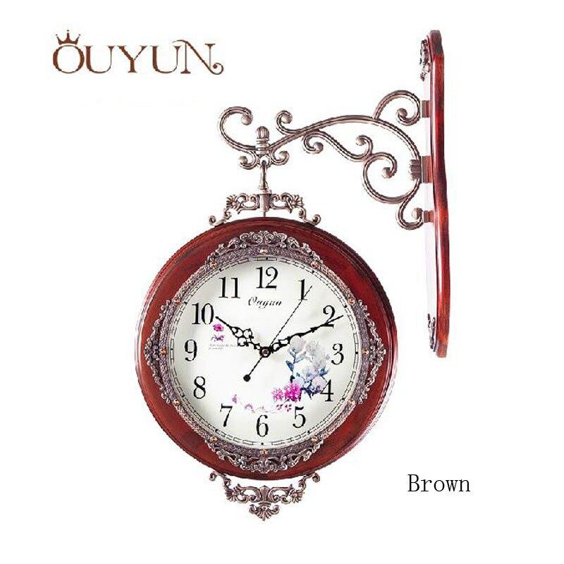 ouyun handmade wooden wall clocks home decor vintage modern design large decorative double sided wall clock roman numeralsin wall clocks from home u0026 garden