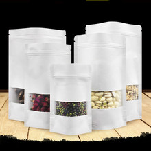 5pcs White Stand up Paper Bag with Translucent Window Food Candy Storage Gift Packaging Ziplock Paper Sealable Pouch Party Favor(China)