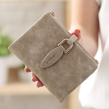 Fashion Women Short Purses Vintage PU Leather Lady Snap Fastener Short Clutch