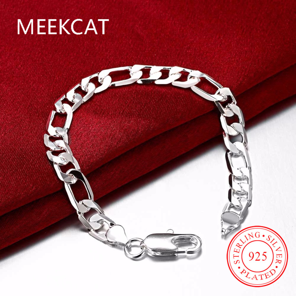 8d20c979612d4 MEEKCAT Men s jewelry 925 stamped silver plated 6MM 8MM 10MM 20CM Flat man  figaro