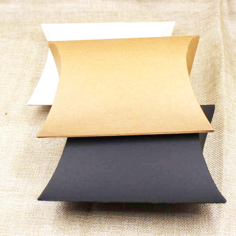 30pcs New Style Hot Large Pillow Candy Packing Box Gift Display Box Black/brown/white Cardboard Gift Package Custom Cost Extra