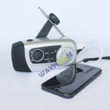 Manivela cargador de teléfono 2000 mah linterna led al aire libre tarjeta de tf/fm raido eléctrica manual de manivela de radio solar generador