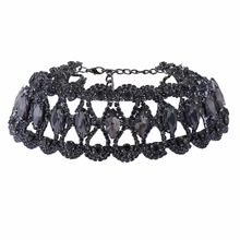 Chunky Chocker 2016 Gem Crystal Flower Rhinestone Luxury Maxi Choker Necklace bib Fashion statement Necklaces for women