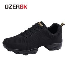 OZERSK 2020 الرجال حذاء كاجوال ماركة الرجال الصيف أحذية رياضية الشقق شبكة الدانتيل يصل المتسكعون تنفس أحذية مشي حجم 39 ~ 44