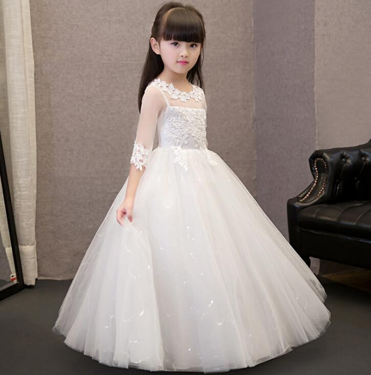 2017 Sequin Lace Tulle Flower Girl Dress Ankle Length