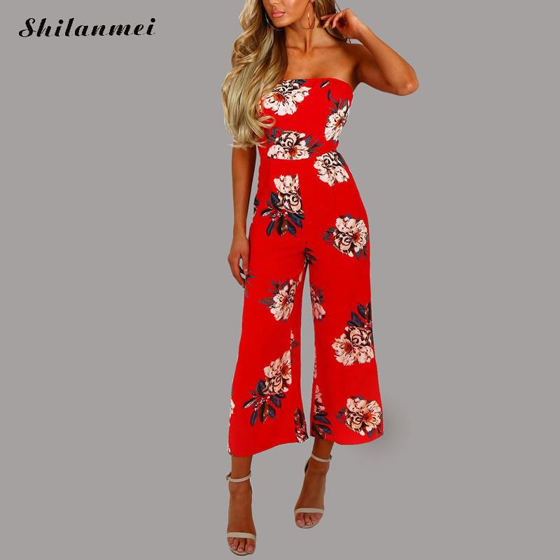 Red Flower Print Long Rompers Womens Jumpsuit Sexy Off Shoulder Tube High Waist Casual Women Jumpsuit Summer Backless Overalls