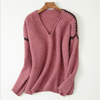 pure goat cashmere knit women fashion handmade sewed spliced Vneck pullover sweater H straight wide loose solid color S/M/L