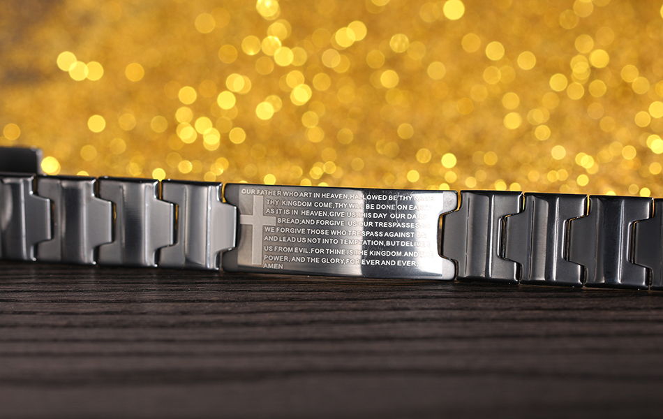 KISS MANDY Black Color Cross Religious Bracelet with Bible Verses Men Stainless Steel Bracelet FB83 10