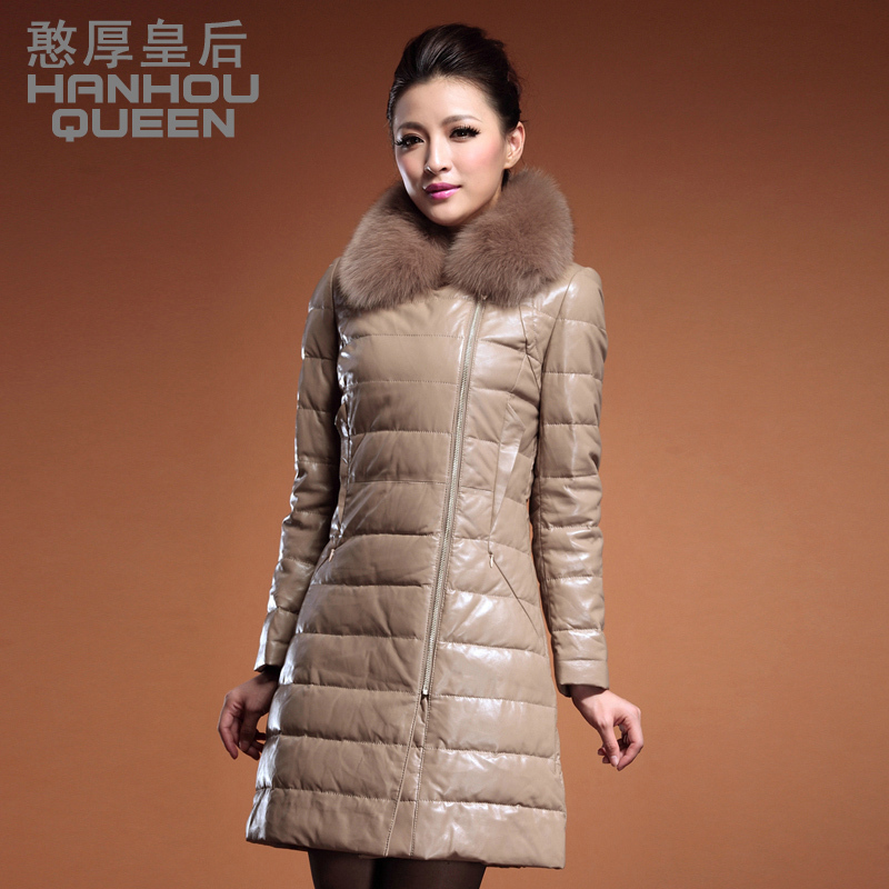 Plus size Fashion new Ladies' Genuine leather Down coat,Elegant women's fox fur collar sheepskin down jacket winter coat FQ983