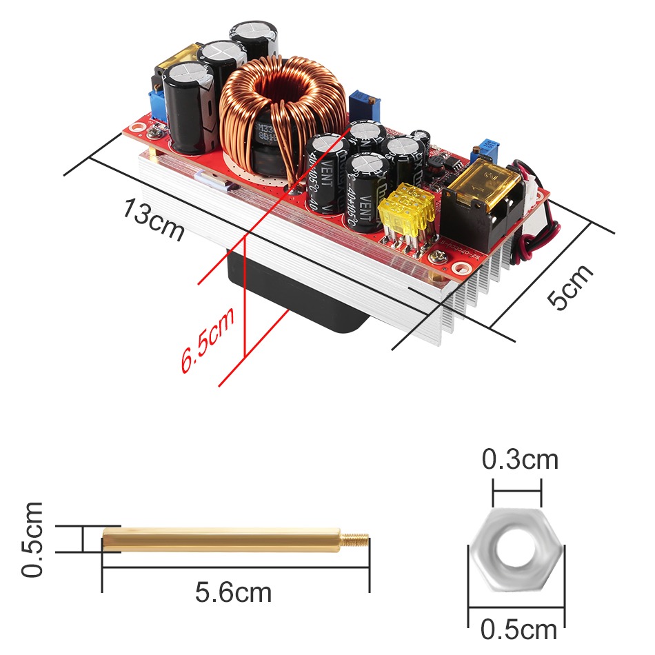 Image 5 - 1800W 40A CC CV Boost Converter DC DC Step Up Power Supply Adjustable Module DC 10V 60V to 12V 90V DIY kit Electric Unit Modules-in Inverters & Converters from Home Improvement