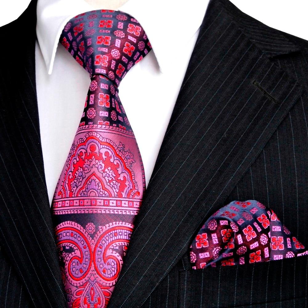Blommig flerfärgat gult gult rosa rött blått turkos män slipsar Slipsuppsättning näsduk 100% silke Jacquard vävd grossist