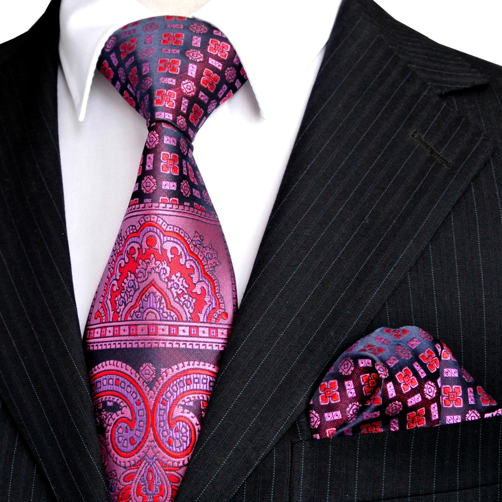 Floral Multicolor Gelbgold Pink Rot Blau Türkis Herren Krawatten Krawatten Set Taschentuch 100% Seide Jacquard Woven Großhandel