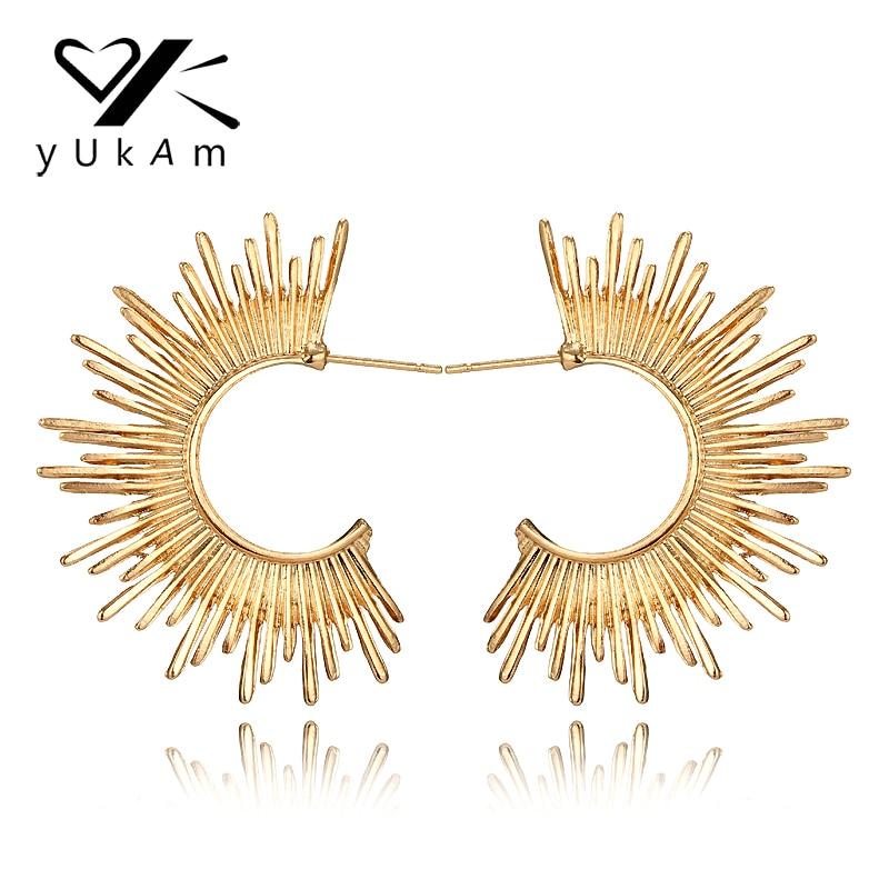 YUKAM Ethnic Personality Punk Creole Hoop Earrings Gold C Shape Sun Earrings for Women Big Exaggerated Earrings Vintage Jewelry