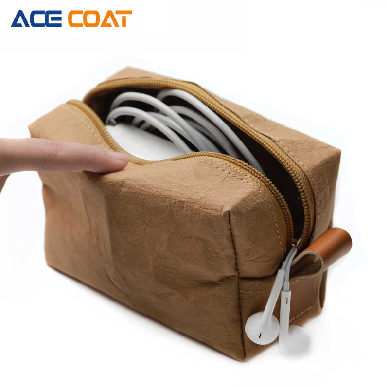 ACECOAT Washable kraft  Mouse pouch sleeve Bag for Wireless Mouse Storage Laptop adapter Charger USB Cable Multi Bag for Macbook