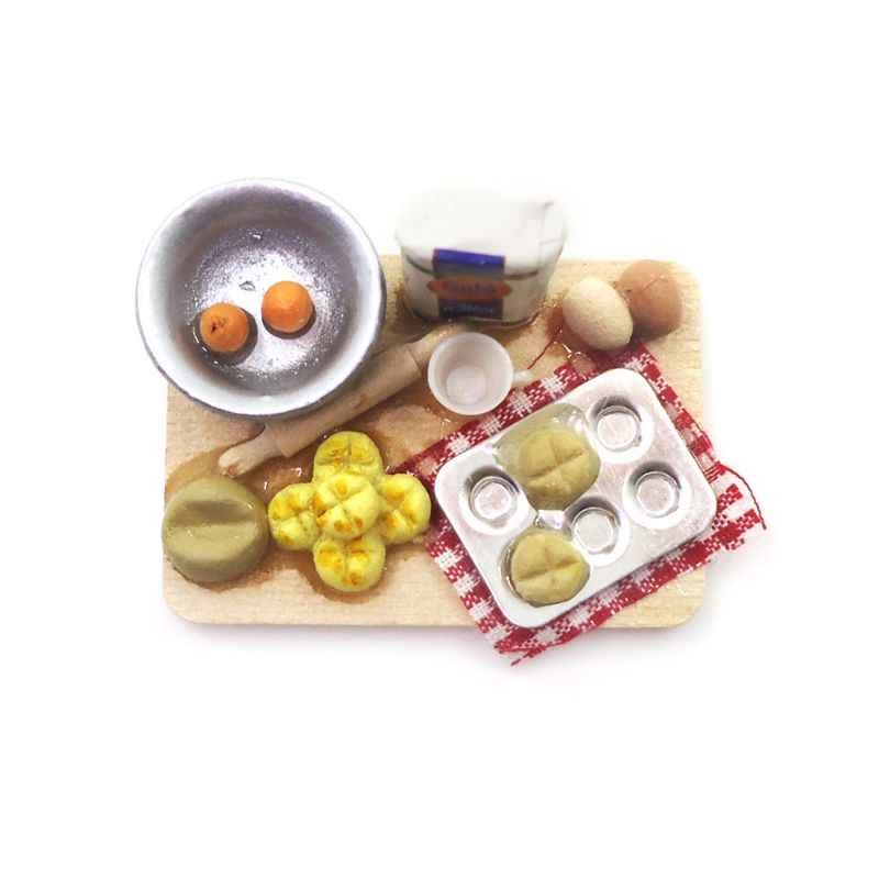 1:12 Scale Dollhouse Miniature Kitchen Food Eggs Milk Bread Milk Bottles Board Play Toys For Doll Gifts