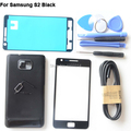 Original Black Full Housing Middle Frame For Samsung Galaxy S2 i9100 Front Glass Lens Back Case Adhesive Tools Free USB Cable
