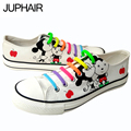 JUP Men Mans Boys Unisex Cartoon Wrapping Custom Mouse white Hand-painted Flat Low Graffiti Shoes Cow Lazy Shoelace Gift Footwe