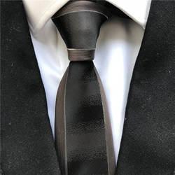 Новые дизайнерские Для мужчин тощий тонкий галстук Кофе коричневый с полосатой границы моды Gravata галстук